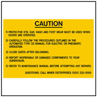Caution: Miner Ent. GS Door Operations