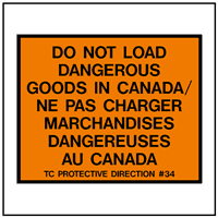 Do Not Load Dangerous Goods in Canada