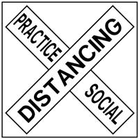 Practice Social Distance Cross Sign